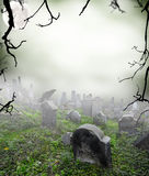 Mysterious cemetery. Old ruined graveyard in mystery fog Royalty Free Stock Images