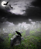 Mysterious cemetery stock illustration