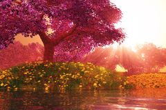Mysterious Cherry Blossoms Japanese Garden cartoony 3D render Stock Photography