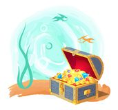 Mysterious Chest of Treasures at Deep Sea Bottom stock illustration