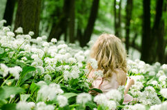 Mysterious child in white meadow Stock Photos