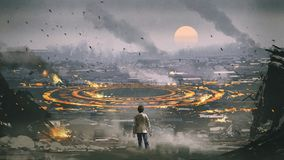 Mysterious circle in apocalypse city. Post apocalypse scene showing the man standing in ruined city and looking at mysterious circle on the ground, digital art royalty free illustration