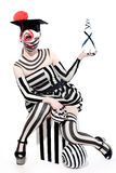 Mysterious circus clown in Masquerade costume Royalty Free Stock Photos
