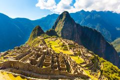 Mysterious city - Machu Picchu, Peru,South America. The Incan ruins. Example of  polygonal masonry Royalty Free Stock Photography