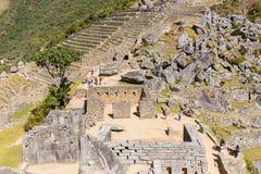 Mysterious city - Machu Picchu, Peru,South America. The Incan ruins and terrace. Example of  polygonal masonry Stock Photo