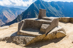 Mysterious city - Machu Picchu, Peru,South America. The Incan ruins and terrace. Example of  polygonal masonry Royalty Free Stock Photography
