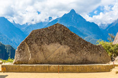 Mysterious city - Machu Picchu, Peru,South America. The Incan ruins and terrace. Example of  polygonal masonry Royalty Free Stock Images
