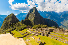 Mysterious city - Machu Picchu, Peru,South America. The Incan ruins and terrace. Example of  polygonal masonry Stock Photo