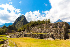 Mysterious city - Machu Picchu, Peru,South America. The Incan ruins and terrace. Royalty Free Stock Images