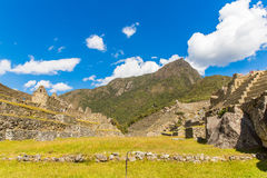 Mysterious city - Machu Picchu, Peru,South America. The Incan ruins and terrace. Example of  polygonal masonry Stock Image