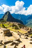 Mysterious city - Machu Picchu, Peru,South America. The Incan ruins and terrace. Royalty Free Stock Photo