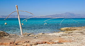 Mysterious  construction on Golden beach. Chrisi island; Crete; Greece Royalty Free Stock Photos