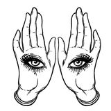 Mysterious creature with eyes on the hands. Hand drawn illustrat Stock Photography