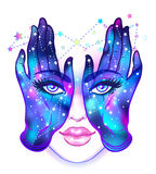 Mysterious creature with eyes on the hands. Hand drawn illustrat. Ion over night sky. Occult design vector illustration.  Vector isolated on white. Astrology Royalty Free Stock Photos
