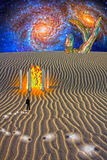 Mysterious Desert Scene. Trail of Idea bulbs in desert and fire in temple Stock Photography