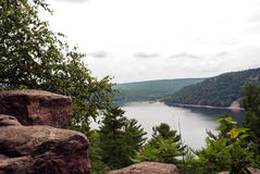 The mysterious Devil's Lake, Wisconsin, USA. The view from the mountains to the mysterious Davil's Lake, Wiskonsin, USA Stock Image