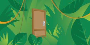 Mysterious door hidden in thick jungle Royalty Free Stock Image