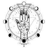 Mysterious drawing: divine hand, providence eye, sacred geometry, phases of the moon. Esoteric, mysticism, occultism. Vector illustration isolated on a white royalty free illustration