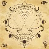 Mysterious drawing: human hands hold a magic circle, sacred geometry. Space symbols. stock illustration