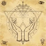 Mysterious drawing: human hands hold a magic circle, sacred geometry. Space symbols. royalty free illustration