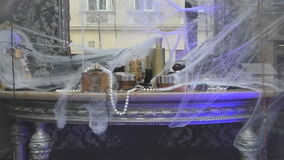 Mysterious dressing table with spider web on Halloween stock video footage