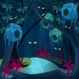 Enchanted forest with mysterious creatures, ghosts and gnomes. Mysterious enchanted forest with sparkling eyes in darkness, magical ghosts among trees, jungles vector illustration