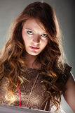 Mysterious enigmatic attractive woman girl. Royalty Free Stock Image
