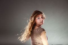 Mysterious enigmatic attractive woman girl. Royalty Free Stock Photos