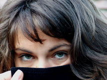 Mysterious eyes Stock Images