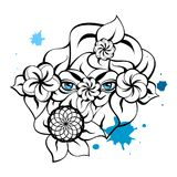 Mysterious Eyes - Blue Card. Illustration with a mysterious eyes, flowers, leaves and blots. Creative hand-drawn design for fashion, beauty, tattoo Stock Image