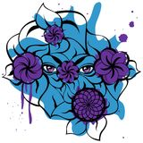 Mysterious Eyes - Blue Card with Violet Flowers. Isolated illustration with a violet mysterious eyes, flowers, blue blots and black contour of leaves. Creative Royalty Free Stock Photos