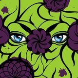 Mysterious Eyes - Violet and Green Pattern. Creative illustration with a mysterious blue eyes, violet flowers, green leaves. Hand-drawn design for fashion Stock Image