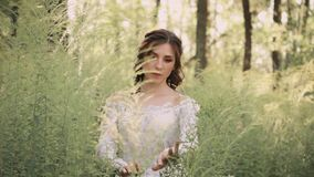 Mysterious fairy with dark wavy hair and natural make-up in a white luxurious light vintage dress with a mesh and floral. Patterns goes slowly in amazing forest stock video