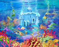 Mysterious and Fantasy Undersea World. Underwater Castle. Stock Photo