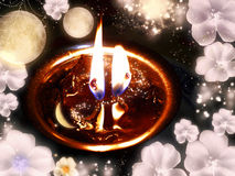Mysterious fire in the fantastic moonlight Royalty Free Stock Photo