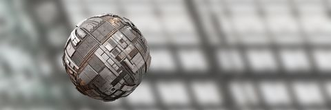 Hovering science fiction style tech sphere background banner. Mysterious flying tech orb banner Stock Images