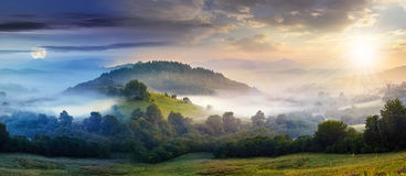 Mysterious Fog On Hillside In Rural Area Stock Photography