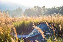 Mysterious fog in the tent camp at sunrise time Stock Photos