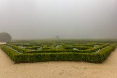Mysterious foggy garden Portugal Stock Photo