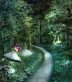 Mysterious footpath in an enchanted thriving forest. Sunbeams enlight a mysterious path in a green forest with mushrooms and flowers all around - 3D illustration stock illustration