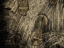 Mysterious footprints stock images