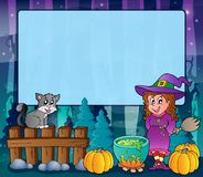 Mysterious forest Halloween frame 6 Stock Image