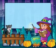 Mysterious forest Halloween frame 7 Stock Photos