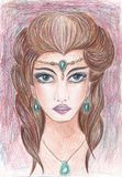 Mysterious Forest Nymph. Colored pencils technique. Goddess with green eyes and brown hair. Jewelry with green stones. Fantasy royalty free illustration