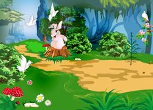 The Mysterious Forest - Scene Design. Cartoon forest, rabbit on a stump Royalty Free Stock Photos