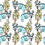 Mysterious forest seamless pattern of cute deer and trees, line art and watercolor blots and splashes. On a white background royalty free illustration