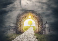 Mysterious gate entrance in paradise. New life or beginning concept Royalty Free Stock Photos