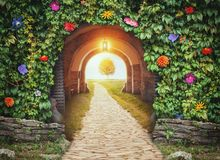 Mysterious gate entrance in paradise.  New life concept. Mysterious gate entrance in paradise.  New life or beginning concept Stock Photos