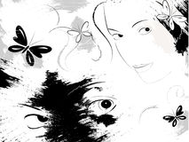 Mysterious girl. Black&white background, girl and butterflies Royalty Free Stock Photos