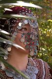 Mysterious girl. Ethnic village girl wearing Middle Eastern clothing Stock Photo